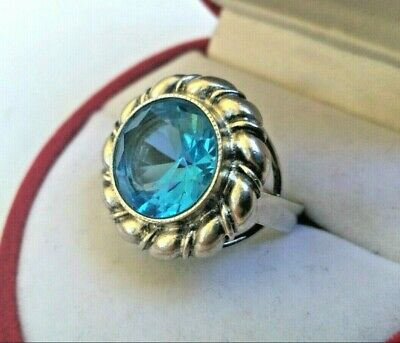 Rare Vintage Ring Blue Stone Silver 925 USSR Star Russian Soviet Antique Size 8