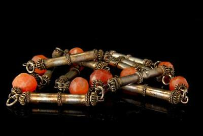 Antique Chinese Carved Carnelian Beads Silver Tone Necklace D101-10