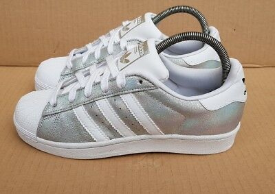 a8155a1d15db Adidas Superstar Trainers Size 4 Uk Holographic Silver Foil Iridescent  Excellent