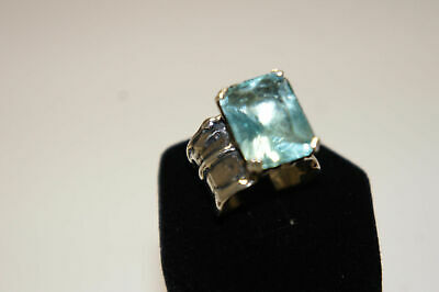 Silpada Aqua Glass Sterling Silver Sz 5 Stunning Artisan Cocktail Ring Israel