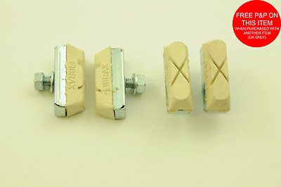 Set Of 4 Fibrax White Bmx Mag Wheel Brake Pads  Brake Block Old School Bmx