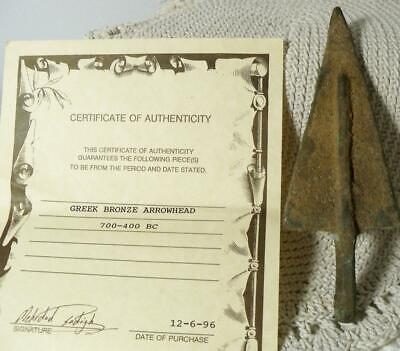Greek Bronze Arrowhead~700-400 BC~COA~from Sadigh Gallery of Ancient Art