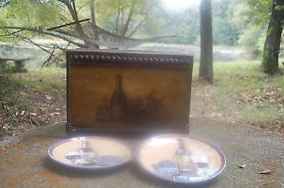 Vintage Look Wine Wood Case Art Holder Double Bottle Carrier/Display W/ Plates