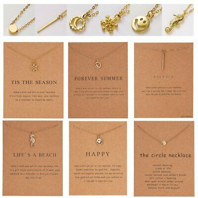 Fashion Women Smile Face Bar Pendant Card Necklace Chain Clavicle Jewelry Gifts
