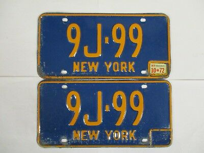 PAIR 1972 New York with GREAT NUMBER   License Plate Tag