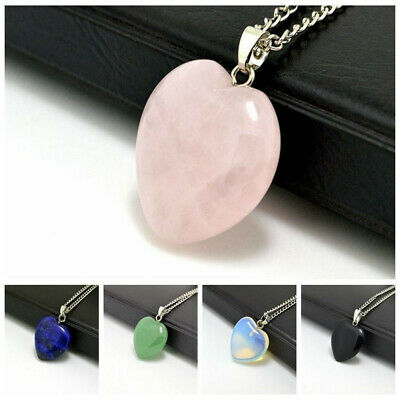 Natural Quartz Stone Heart Gems Rock Healing Point Chakra Pendant Necklace Gift