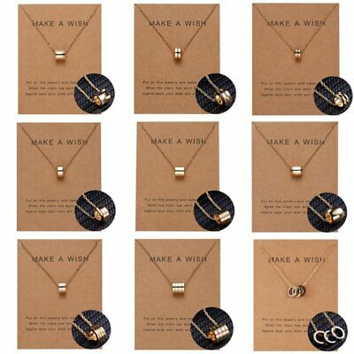 Make A Wish Fashion Gold Clavicle Choker Geometric Pendant Necklace Card Jewelry