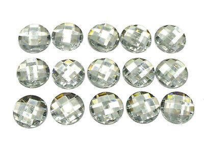 100 Clear Acrylic Flatback Faceted Round Rhinestone Gems 16mm No Hole