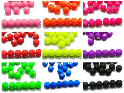 """100 Matte Neon Color Acrylic Round Beads 12mm(1/2"""") Rubber Tone Color for Choice"""