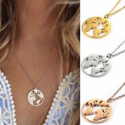 Fashion Stainless Steel World Map Necklace Round Hollow Pendant Women Jewelry