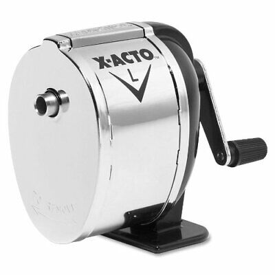 X-Acto 1041 Model l table- or wall-mount pencil sharpener, chrome receptacle