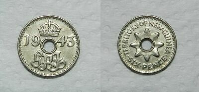 NEW GUINEA : SIXPENCE 1943 - Attractive Example