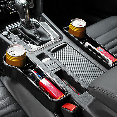 US Car Seat Storage Box&Console Side Pocket With Coin Phone Organizer Cup Holder