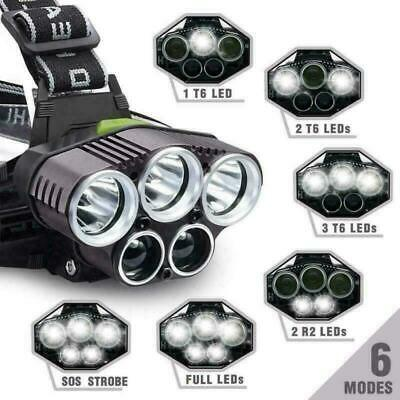 90000Lm 5X Xm-L T6 Led Headlamp Head Light Head Torch Flashlight Camping Lamp Au