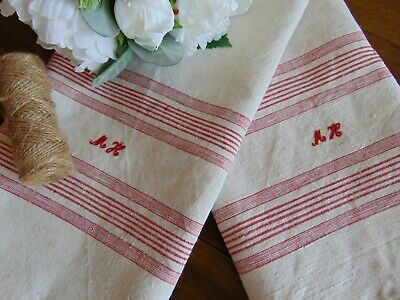 "ANTIQUE FRENCH RUSTIC HANDWOVEN LINEN ""MH"" RED MONOGRAM RUNNER TOWEL 142X50.5cm"