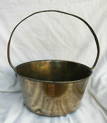 Antique Victorian Brass and Cast Iron Preserving Pan - Large