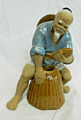Shiwan Pottery Figure - Fisherman with Pannier and Fish - BNIB