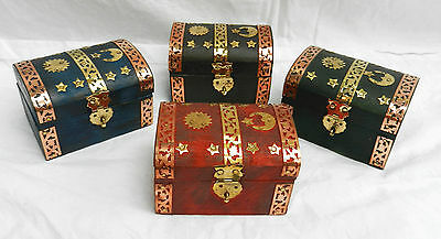 Small Wooden Brass & Copper Bound Coloured Trunk / Trinket Box - BNWT