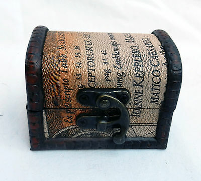 Small Vintage World Map Wooden Pirate Chest / Cabin Trunk Trinket Box - NEW