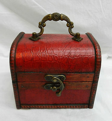 Red Mock Crocodile Skin Wooden Pirate Chest / Cabin Trunk Trinket Box - NEW (2)