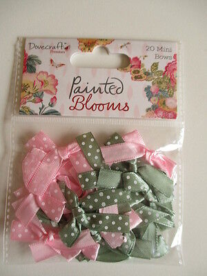 Dovecraft Painted Blooms 20  Mini Ribbon Bows satin polka dot pink green