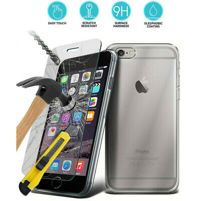 For iPhone Vivo Oppo Full Protect Tempered Glass Screen Cover & Clear TPU Case