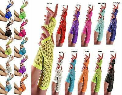 New Neon Hot Assorted Colours Long Short Fish Net Fingerless Gloves 80'S Party
