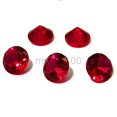 RUBY Cubic Zirconia Loose Stones CZ Round Brilliant diamante 1 - 5mm