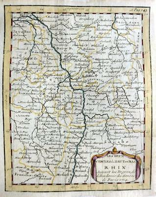 GERMANY THE RHINE  BY CLAUDE BUFFIER c1722  GENUINE COPPER ENGRAVED ANTIQUE MAP