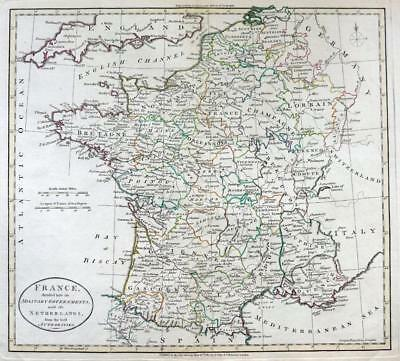 FRANCE BY WILLIAM DARTON  LARGE ENGRAVED MAP WITH  ORIGINAL HAND COLOUR   c1792