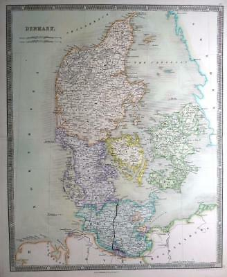 DENMARK BY DOWER & TEESDALE  GENUINE ENGRAVED MAP ORIGINAL HAND COLOUR   c1844