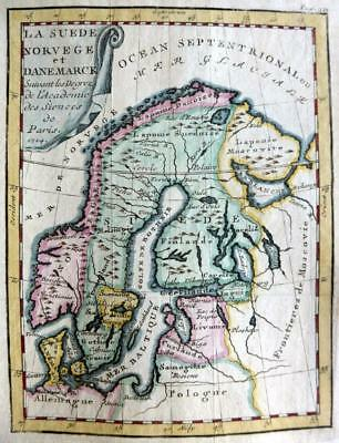 SWEDEN NORWAY DENMARK BY CLAUDE BUFFIER c1722  GENUINE ENGRAVED ANTIQUE MAP