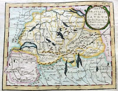 SWITZERLAND  BY CLAUDE BUFFIER c1722  GENUINE COPPER ENGRAVED ANTIQUE MAP