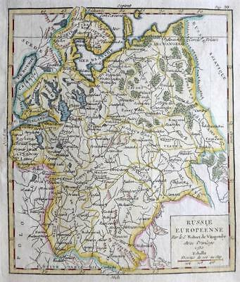 RUSSIA  BY ROBERT DE VAUGONDY  c1781  GENUINE COPPER ENGRAVED  ANTIQUE MAP