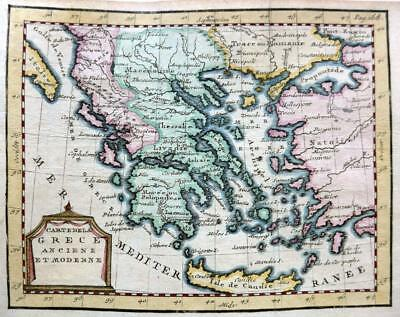 GREECE  BY CLAUDE BUFFIER c1722  GENUINE COPPER ENGRAVED ANTIQUE MAP