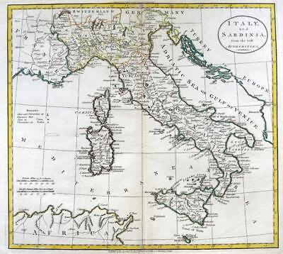 ITALY  BY WILLIAM DARTON  LARGE ENGRAVED MAP  ORIGINAL HAND COLOUR   c1792