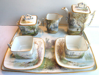 RARE, EXCEPTIONAL Limoges porcelain coffee service, Lake landscape scenery