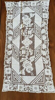 "Antique Handmade Ivory Filet Lace Table Runner Dresser Scarf 32"" x 16"""