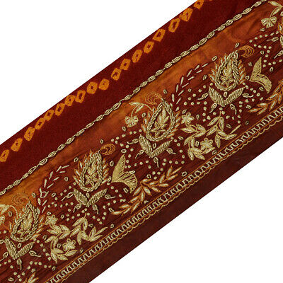 Modest Sanskriti Vintage Saffron Sari Border Hand Embroidered Indian Craft Trim Lace Lace, Crochet & Doilies Antiques