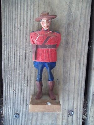 Vintage HANNAH Royal Canadian Mounted Police Wood Carved Figure Signed RCMP