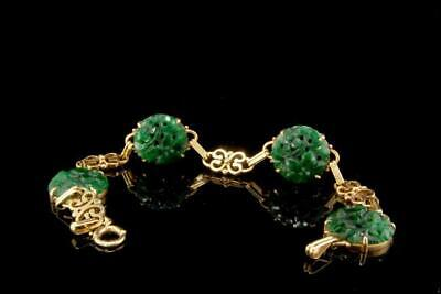 Vintage Chinese Carved Deep Green Jadeite Jade 14K Gold Bracelet D111-01