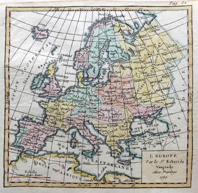 EUROPE  BY ROBERT DE VAUGONDY  c1781  GENUINE COPPER ENGRAVED  ANTIQUE MAP