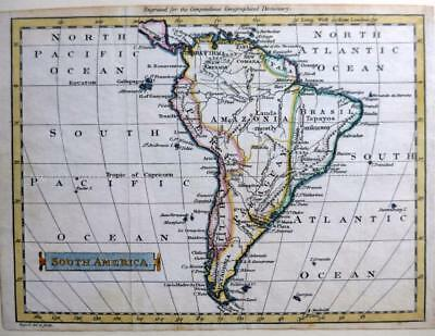 SOUTH AMERICA  COPPER ENGRAVED MAP BY JOHN RUSSELL GENUINE ANTIQUE  c1795