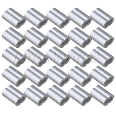 25 Pcs 3mm Aluminium Clamp Ferrules Sleeves Wire Rope Round Double Hole Clip