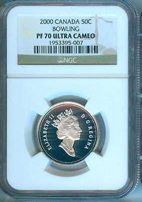 2000 Canada 50 Cents Bowling  Ngc  Pf-70 Uc   Finest Graded     New Low Price
