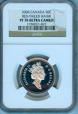 2000 Canada 50 Cents Red Tailed Hawk  Ngc  Pf-70 Uc   Finest Graded   Low Price
