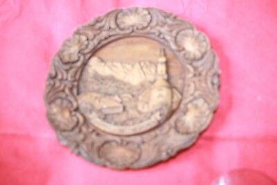 Wooden Plate with  an Artisan carving of a church inside German Origin.