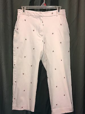 JM COLLECTION Embroidered DRAGONFLY Pink CAPRI PANTS Women's SIZE 8 STRETCH