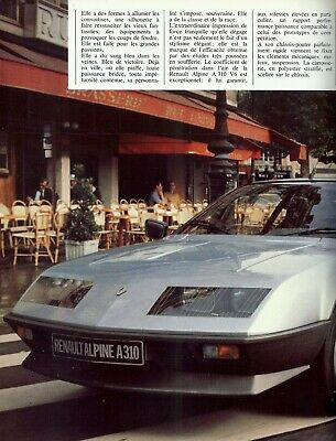 "ALPINE RENAULT ""A 310 V6"" - 2664 CC - 150 HP - 1984 - French sales brochure"