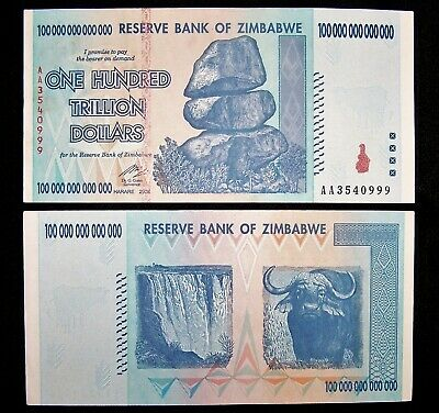 1 x Zimbabwe 100 Trillion dollar banknote-2008/AA /authentic/About uncirculated